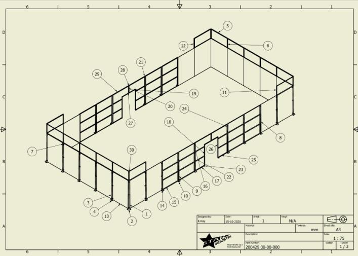 Hos Star industri kan vi tilbyde både 2D og 3D tegning i den altid nyeste version af Inventor Her 2D af en egen designet padel tennis bane.